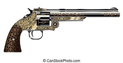 revolver - vector illustration of a revolver, engraved in...