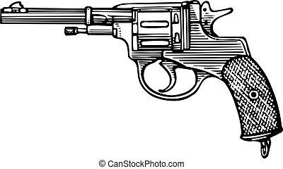 Revolver - Pistol revolver sidewise isolated on white...