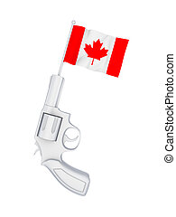 Revolver with a flag of Canada.