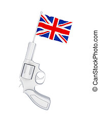 Revolver with a flag of Great Britain.
