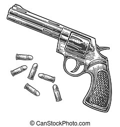 Revolver with bullets. Vector engraving vintage illustrations.