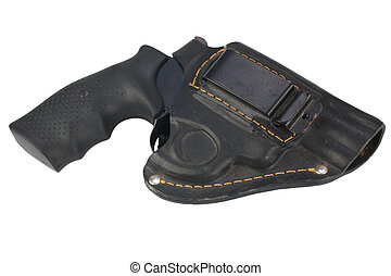 Western revolver and holster  Western style revolver against