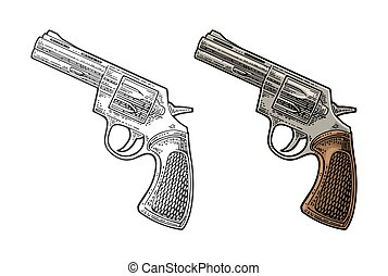 Revolver with short barrel and bullets. Vector engraving vintage illustrations.