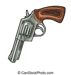 Revolver with short barrel. Vector engraving vintage illustrations.