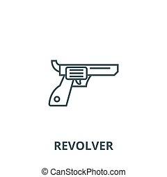 Revolver,gun,cowboy vector line icon, linear concept, outline sign, symbol
