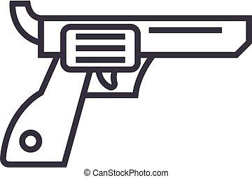 revolver,gun,cowboy vector line icon, sign, illustration on background, editable strokes