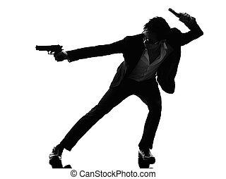 revolverheld, mörder, asiatisch, silhouette