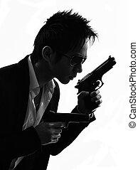 revolverheld, mörder, porträt, asiatisch, silhouette