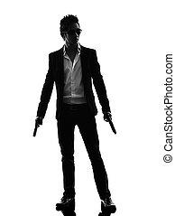 revolverheld, mörder, stehende , asiatisch, silhouette