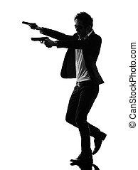 revolverheld, silhouette, mörder, asiatisch