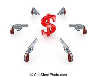 Revolvers around dollar sign.