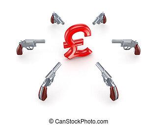 Revolvers around pound sterling sign.