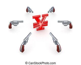 Revolvers around Yen symbol.