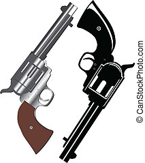 revolvers - Vector image of two revolvers on white...