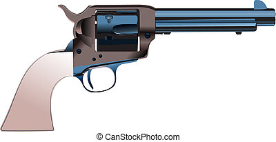 Revolvers on isolated background. Vector illustration