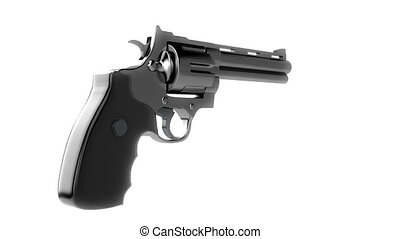 Revolvers on white background, repeatly loop - 3d animation