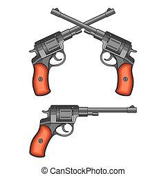 Revolvers on white background.