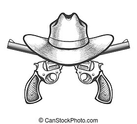 Revolvers with Cowboy Hat