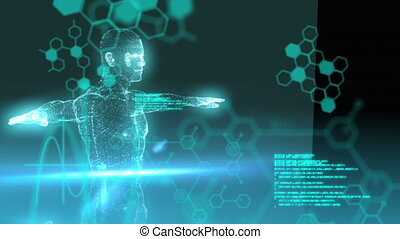 Revolving 3d human diagram with moving text and data
