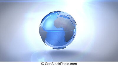 Revolving blue earth on bright background