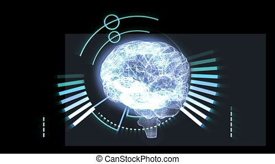 Revolving brain graphic with interf