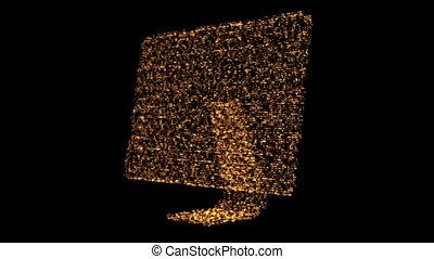 Revolving computer orange monitor