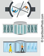 Revolving door banner concept set, flat style