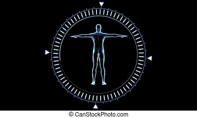 Revolving figure of man in moving dial circle in blue on...