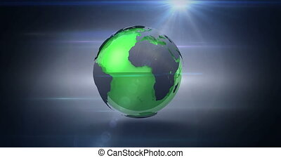 Revolving green and grey earth