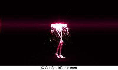 Revolving skeleton appears - Revolving pink walking skeleton...