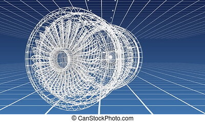 Revolving technical drawing of turbine on a blue background