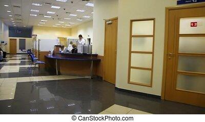 revue, banque, premise, réception