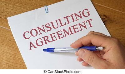 revue, concept, consultant, accord