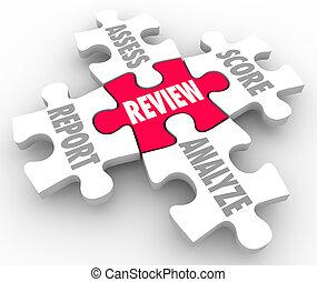 revue, morceaux, évaluer, partition, rapport, analyser, puzzle