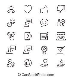 revue, réaction, mince, icônes