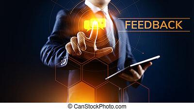 revue, testimonials, client, réaction, service, satisfaction, concept., business