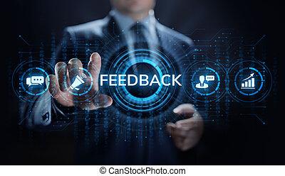 revue, testimonials, réaction, service, satisfaction, client, concept., business
