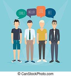 revues, réaction, discussion., concept, média, social, illustration, quatre, words., vecteur, parole, communication, communicate., bulles, types, relater