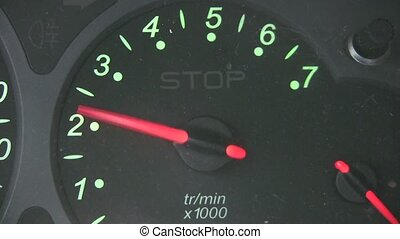 The rev counter of a car
