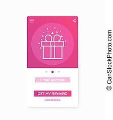 Reward app, mobile ui, vector template