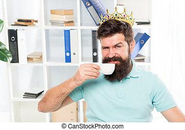 reward for fresh ideas. Businessman in gold crown. Happy man...