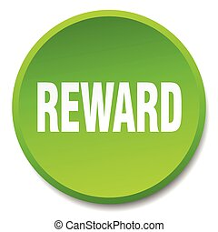 reward green round flat isolated push button