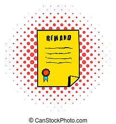 Reward icon, comics style