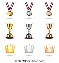 reward icons - illustration of reward icons on white...