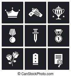 Reward icons. Vector Illustration.