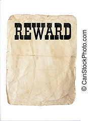 reward poster - handmade old style poster with reward text