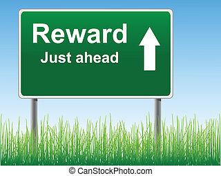 Reward road sign. - Reward road sign on the sky background,...