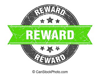 reward round stamp with green ribbon. reward