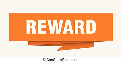 reward sign. reward paper origami speech bubble. reward tag....