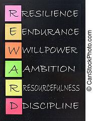 Reward, success acronym - Reward acronym handwritten on a...